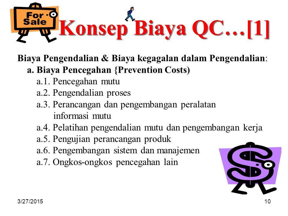 Konsep Biaya QC…[1] Biaya Pengendalian & Biaya kegagalan dalam Pengendalian: a. Biaya Pencegahan {Prevention Costs)